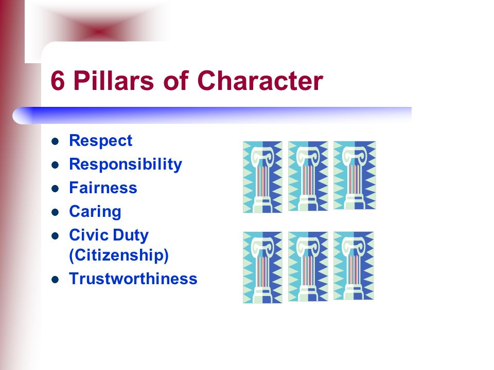 6 Pillars of Character Respect Responsibility Fairness Caring