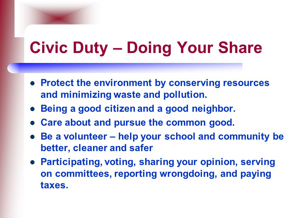 Civic Duty – Doing Your Share