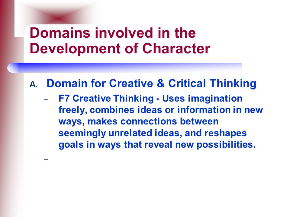 Domains involved in the Development of Character
