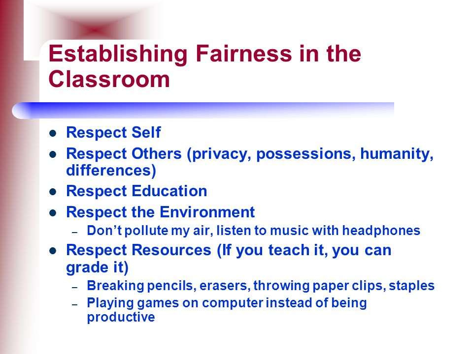 Establishing Fairness in the Classroom