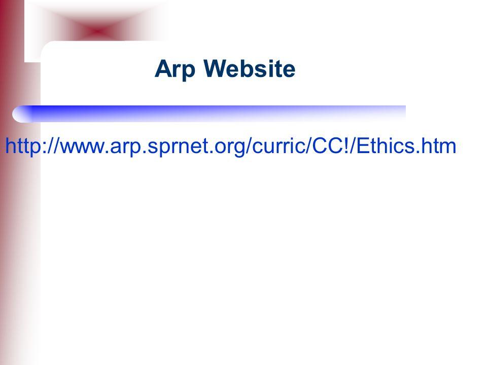 Arp Website http://www.arp.sprnet.org/curric/CC!/Ethics.htm