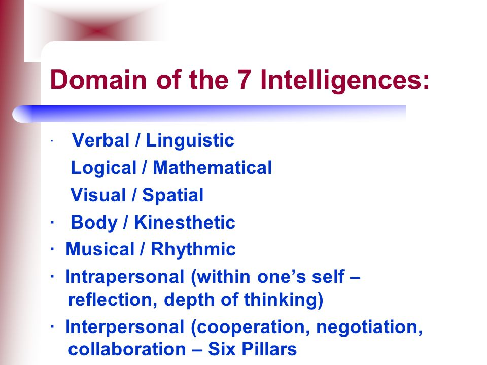 Domain of the 7 Intelligences: