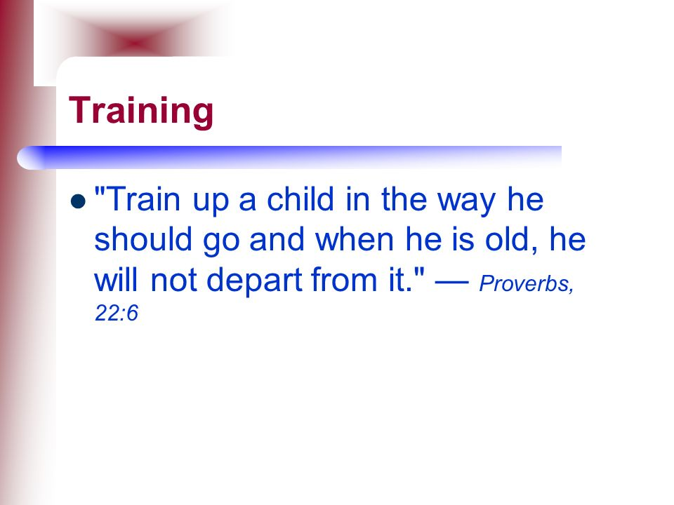 Training Train up a child in the way he should go and when he is old, he will not depart from it. — Proverbs, 22:6.