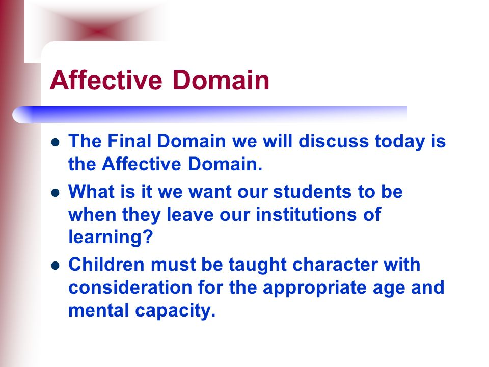 Affective Domain The Final Domain we will discuss today is the Affective Domain.