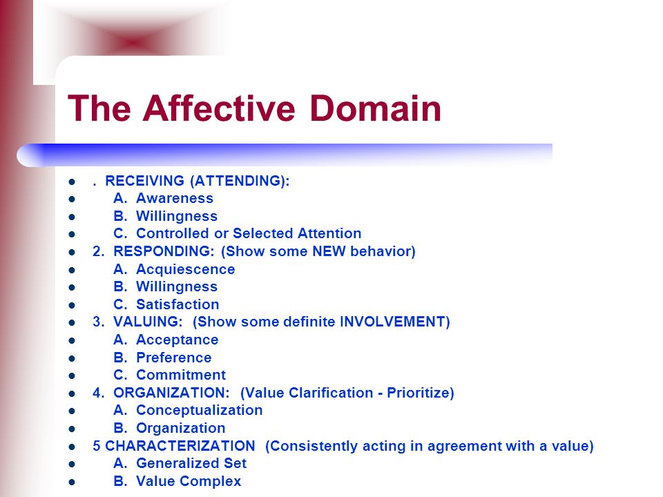 The Affective Domain . RECEIVING (ATTENDING): A. Awareness