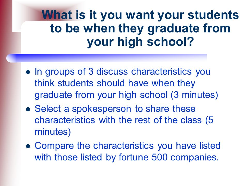 What is it you want your students to be when they graduate from your high school
