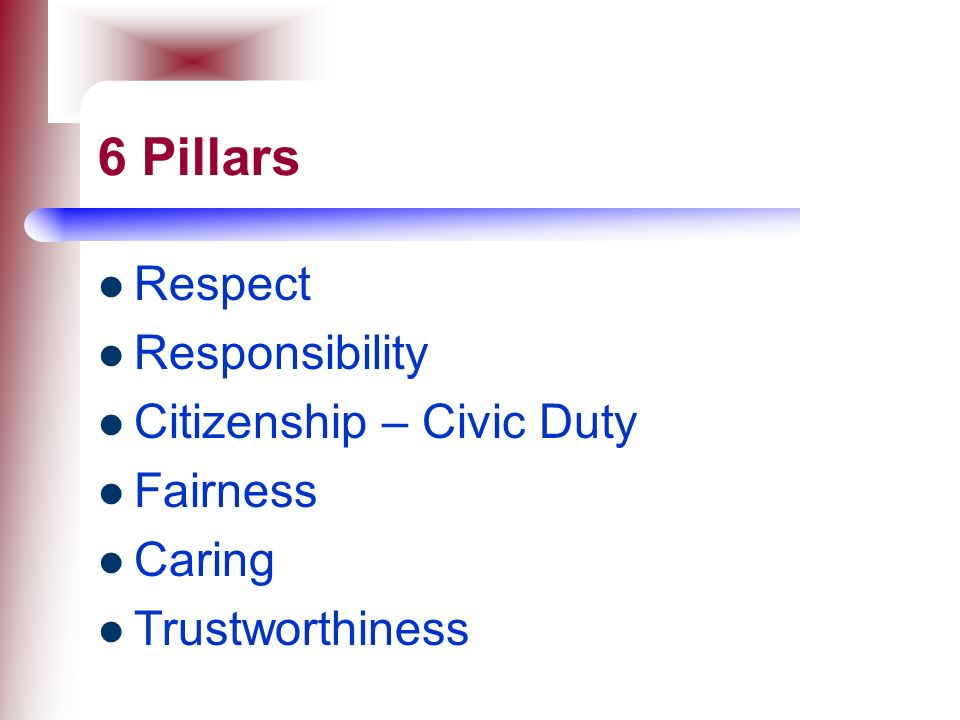 6 Pillars Respect Responsibility Citizenship – Civic Duty Fairness