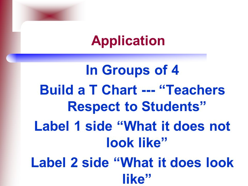 Build a T Chart --- Teachers Respect to Students