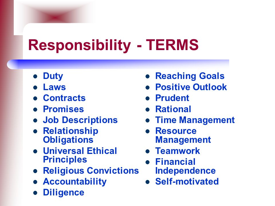 Responsibility - TERMS