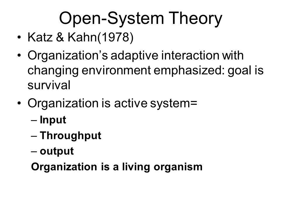 open systems theory katz and kahn