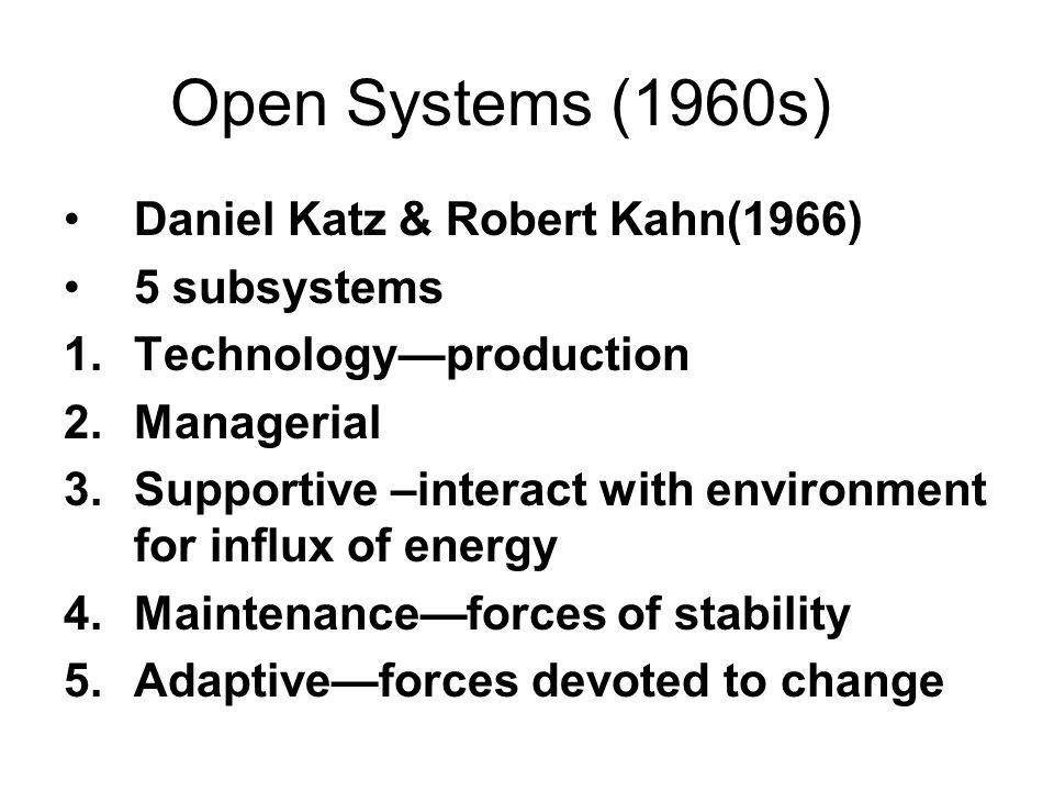 Open Systems (1960s) Daniel Katz & Robert Kahn(1966) 5 subsystems