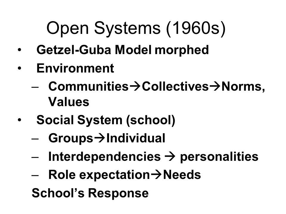 Open Systems (1960s) Getzel-Guba Model morphed Environment