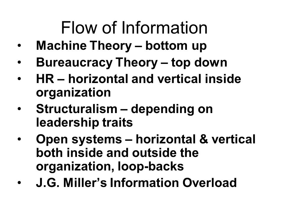 Flow of Information Machine Theory – bottom up
