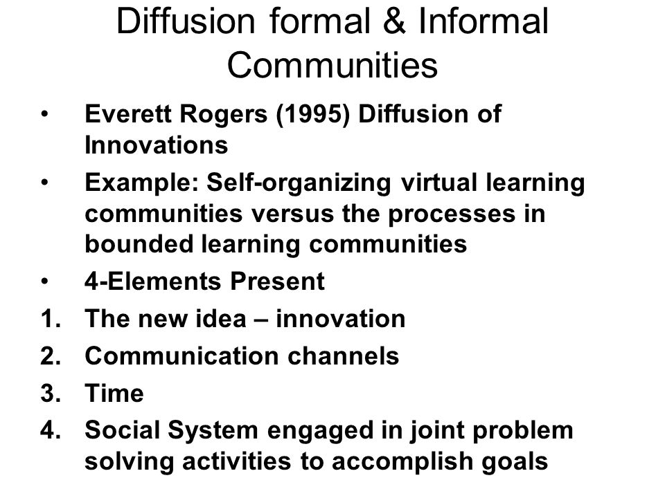 Diffusion formal & Informal Communities