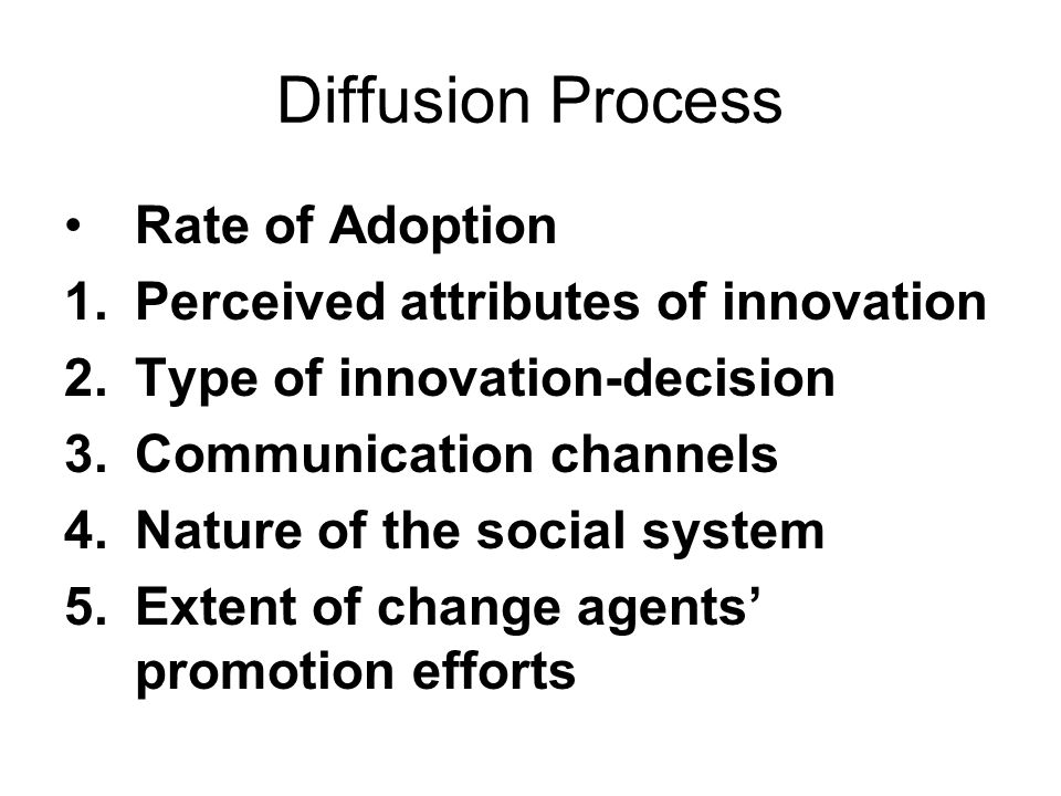 Diffusion Process Rate of Adoption Perceived attributes of innovation