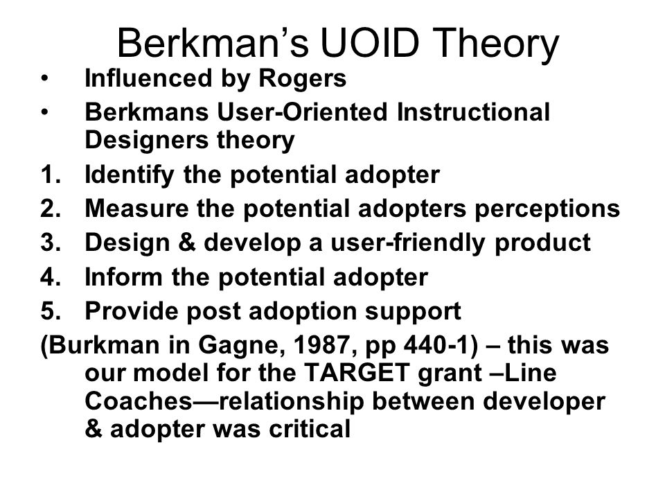 Berkman's UOID Theory Influenced by Rogers