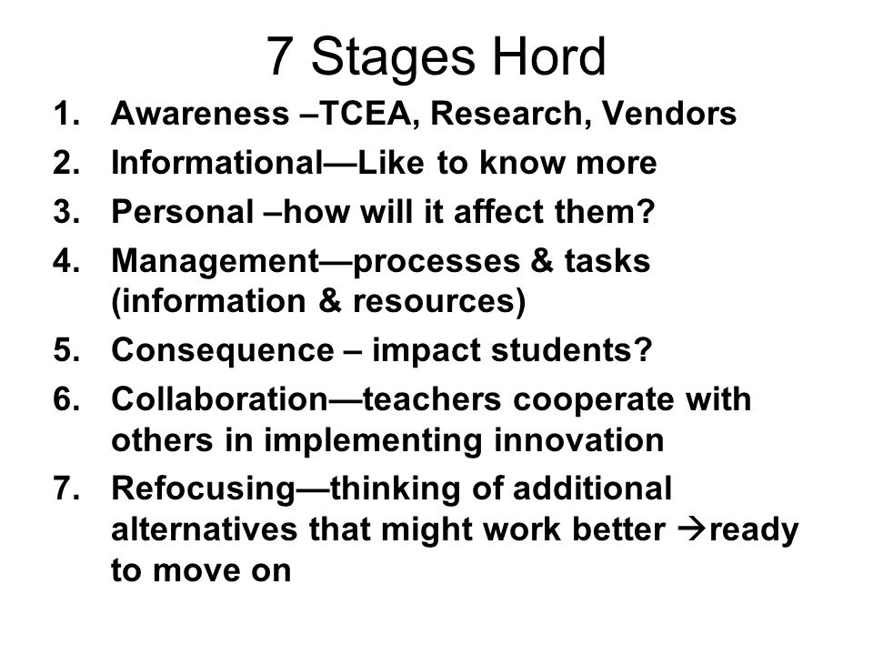 7 Stages Hord Awareness –TCEA, Research, Vendors