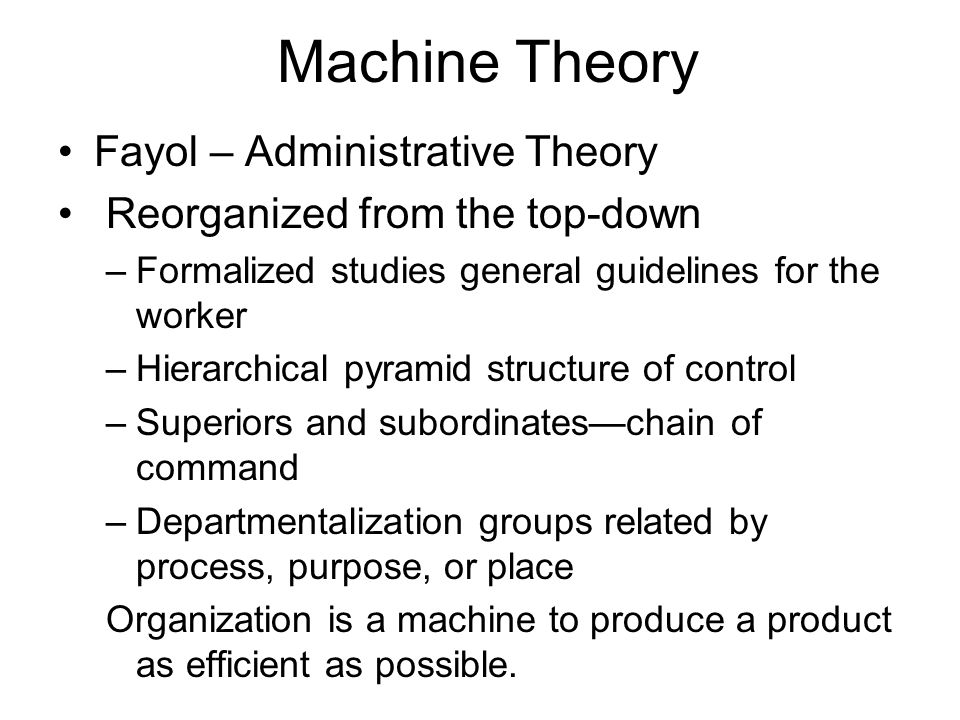 Machine Theory Fayol – Administrative Theory