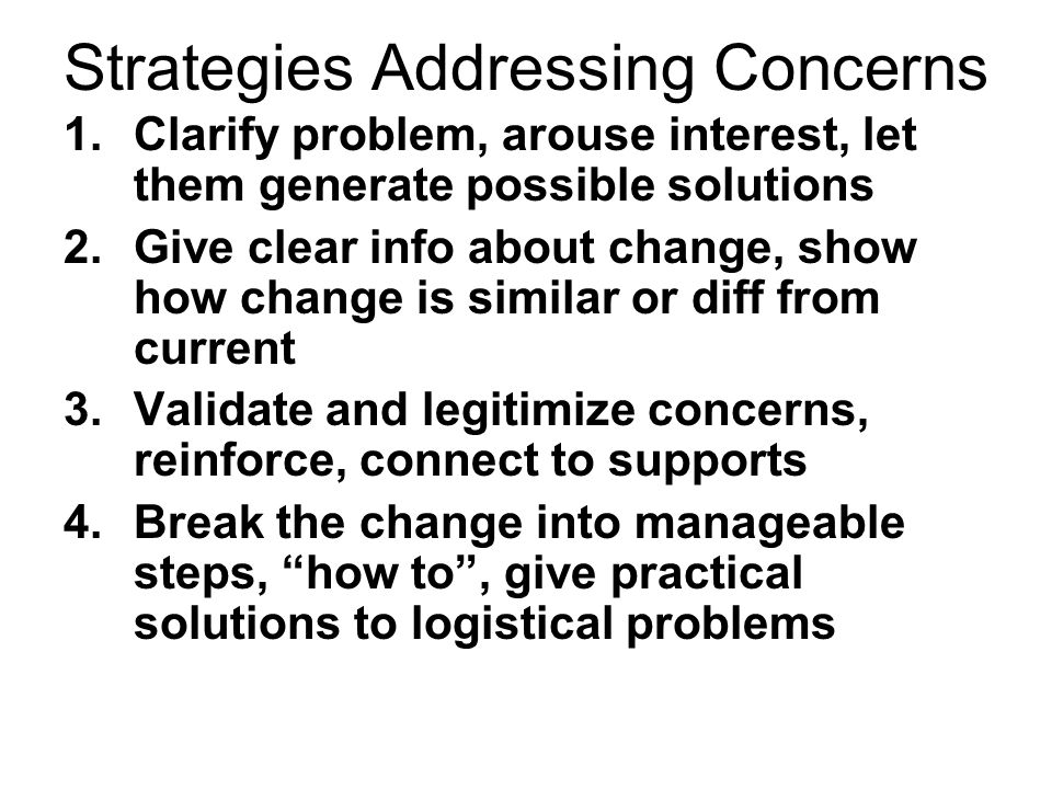 Strategies Addressing Concerns