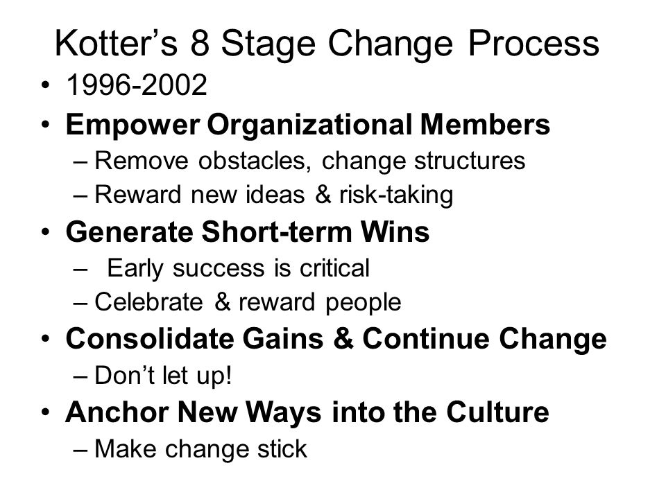 Kotter's 8 Stage Change Process