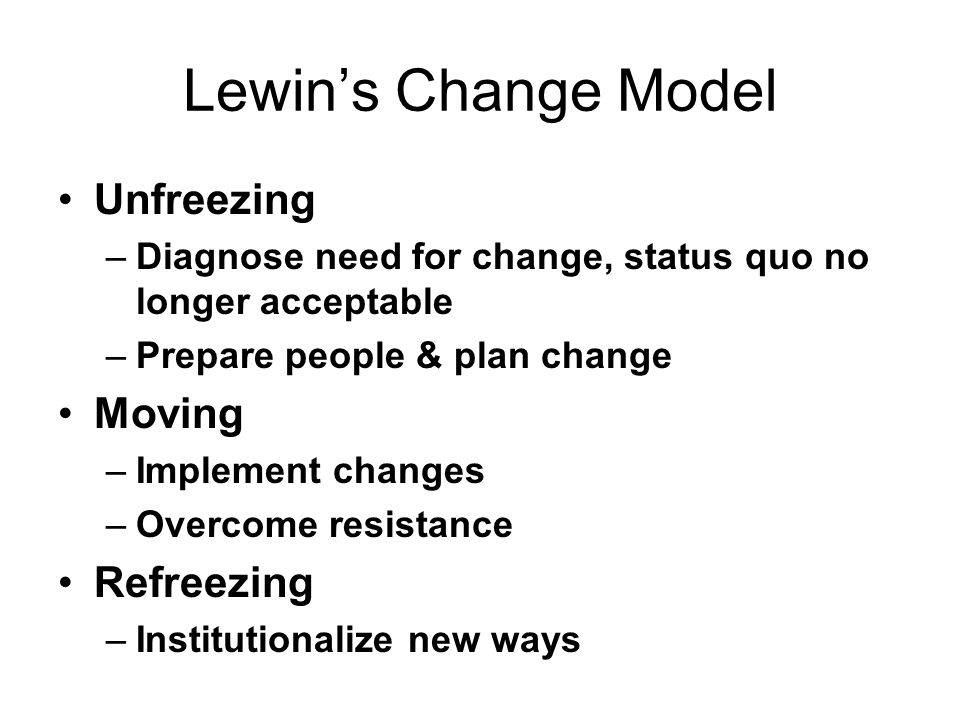 Lewin's Change Model Unfreezing Moving Refreezing