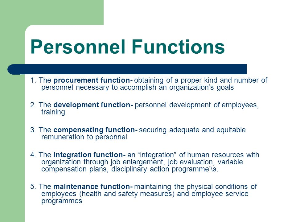 Development dimensions of personnel function