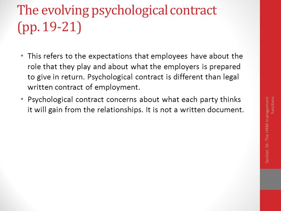 the role of psychological contract in regulating employment relationship