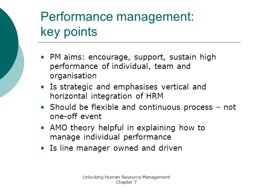 performance management theory Explain how performance management review meetings should be conducted • appreciate the importance of training all staff on the theory and practice of performance management • critically evaluate the most common appraisal or performance management scheme types • appreciate the importance of evaluating.
