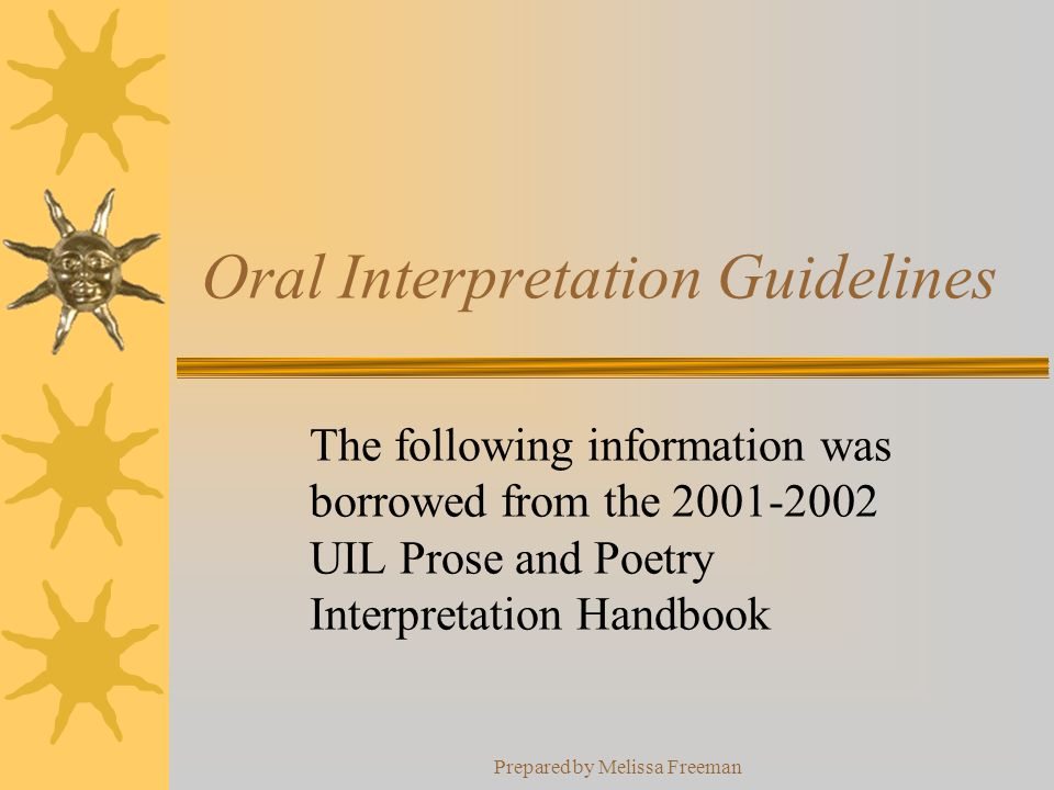 Oral Interpretation Guidelines