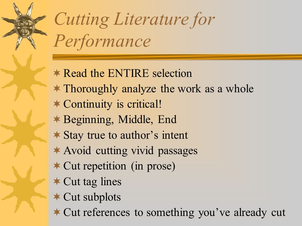 Cutting Literature for Performance