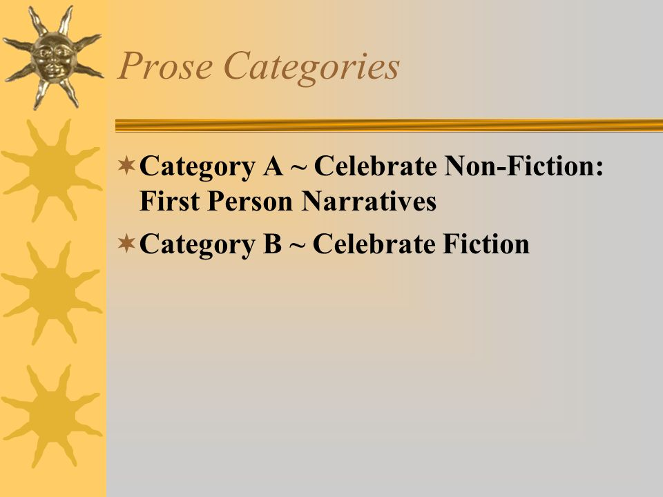 Prose Categories Category A ~ Celebrate Non-Fiction: First Person Narratives.