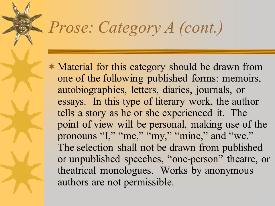 Prose: Category A (cont.)