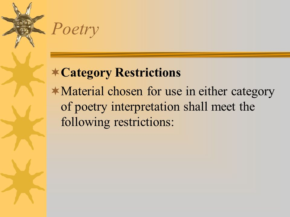 Poetry Category Restrictions