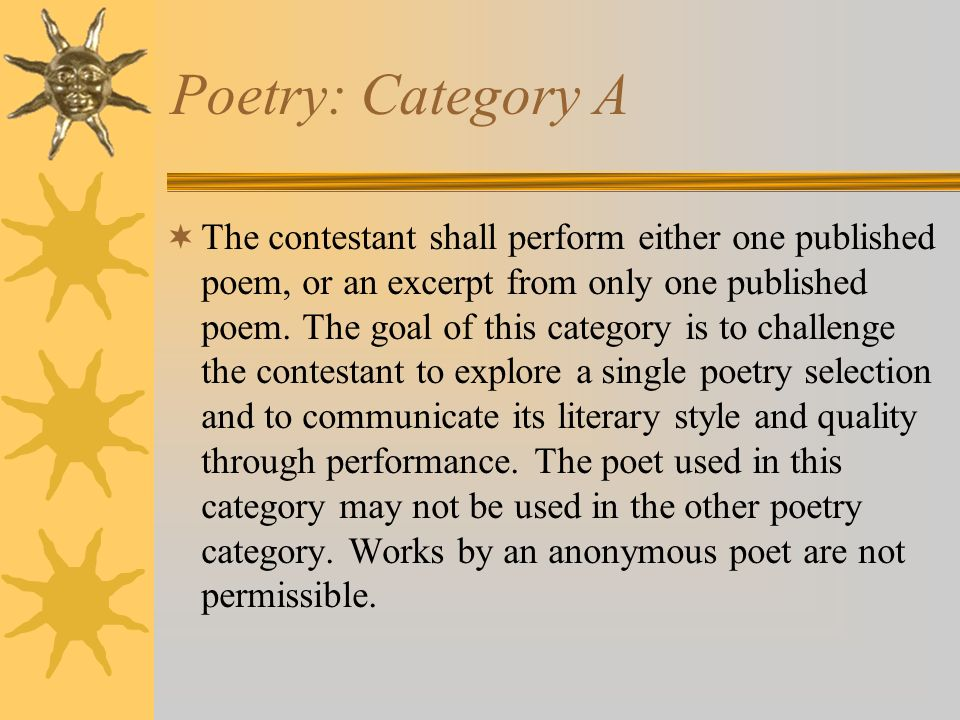 Poetry: Category A
