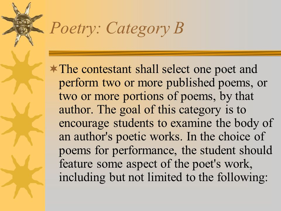 Poetry: Category B