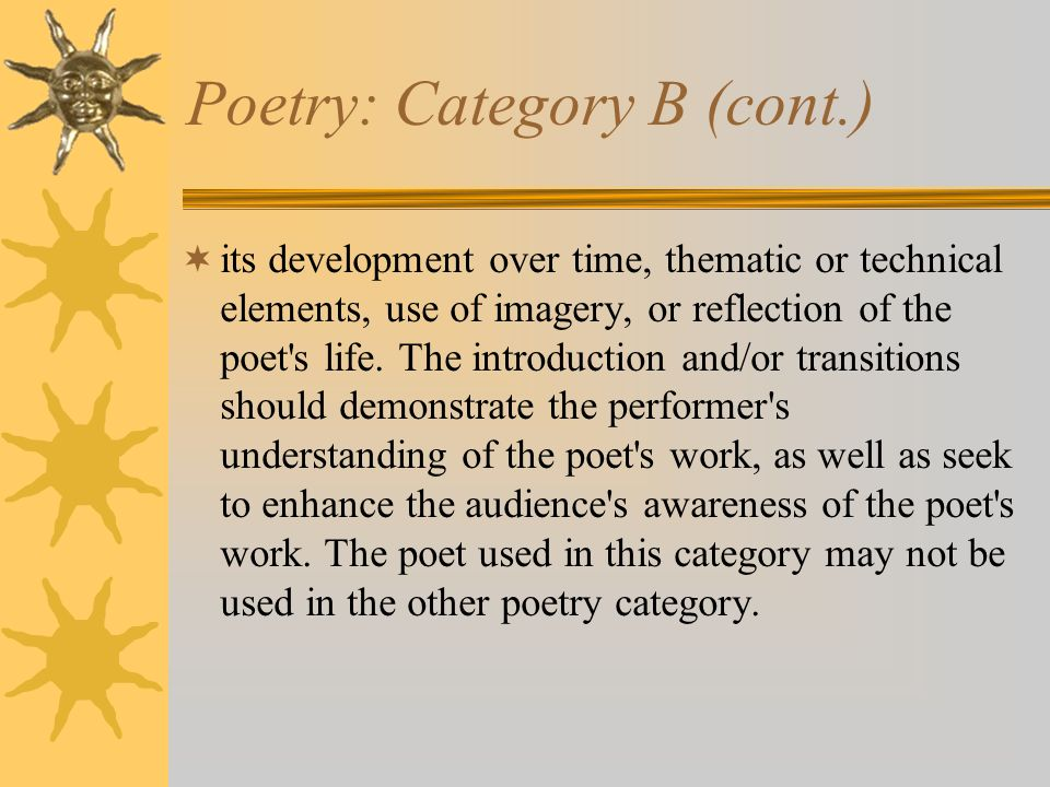 Poetry: Category B (cont.)