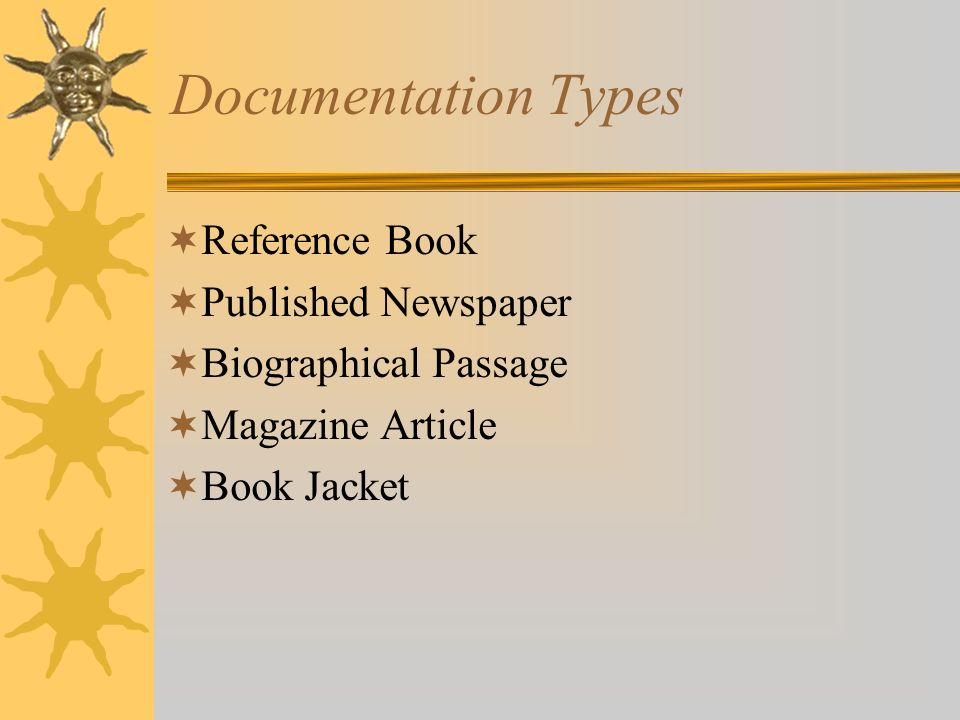 Documentation Types Reference Book Published Newspaper