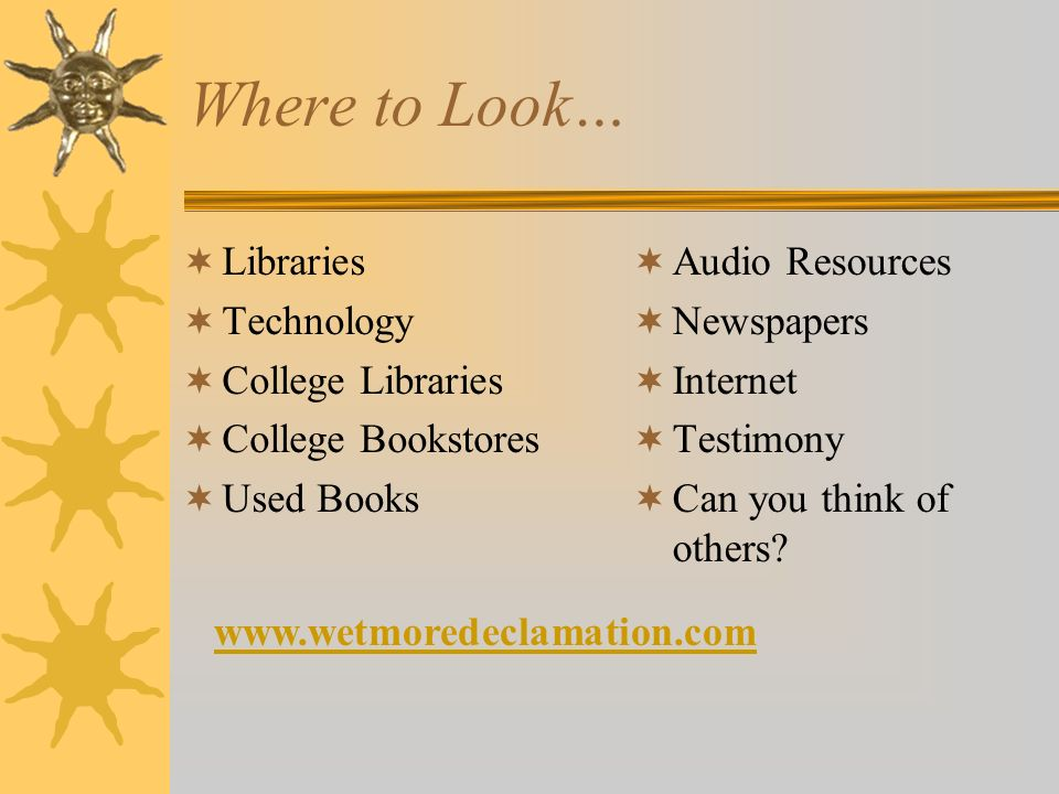 Where to Look… Libraries Technology College Libraries