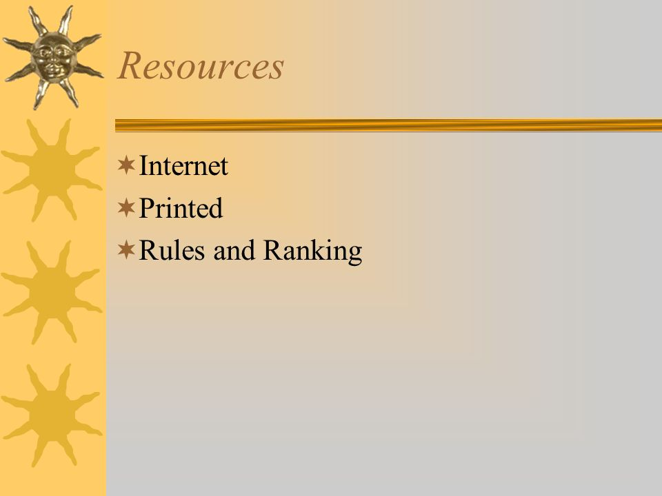 Resources Internet Printed Rules and Ranking