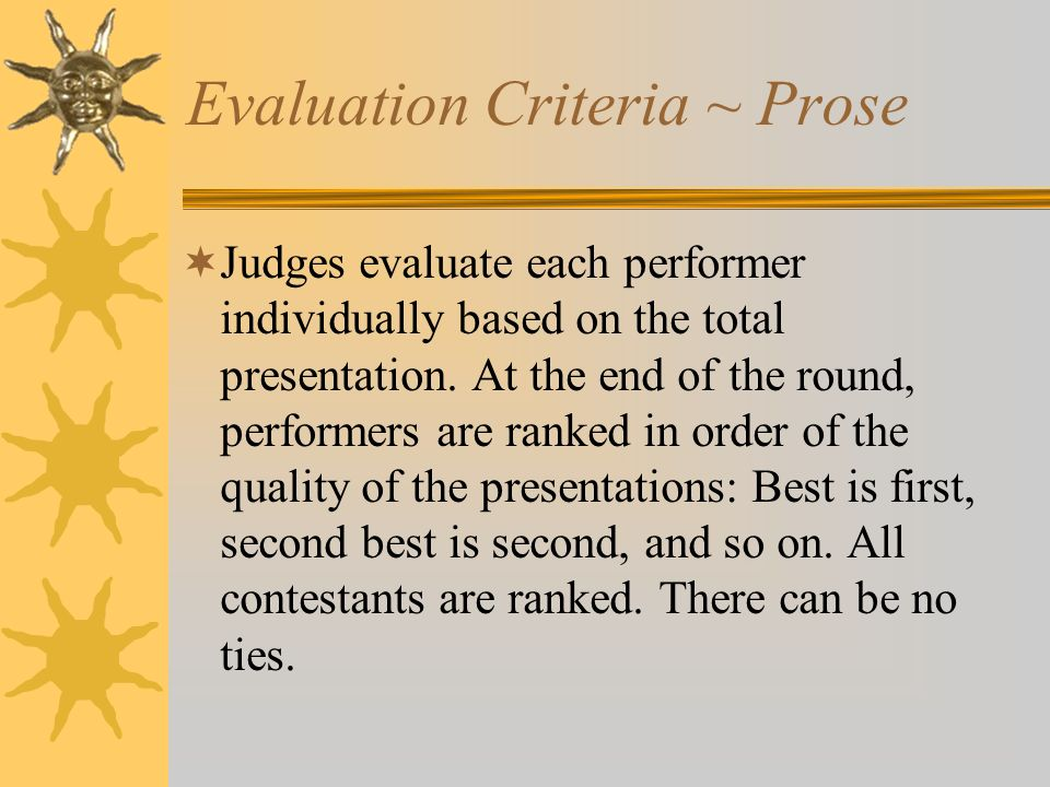 Evaluation Criteria ~ Prose