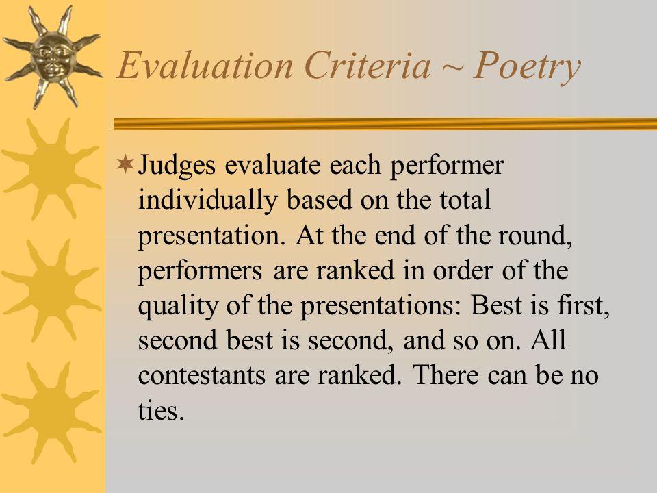 Evaluation Criteria ~ Poetry