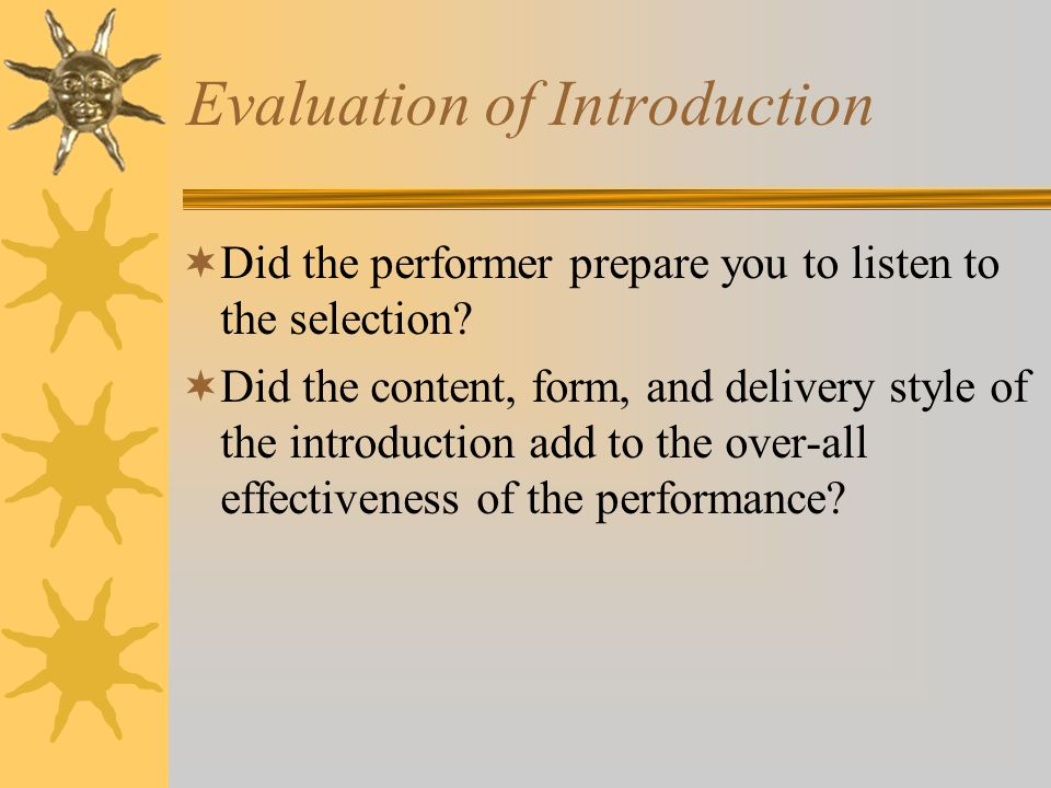 Evaluation of Introduction