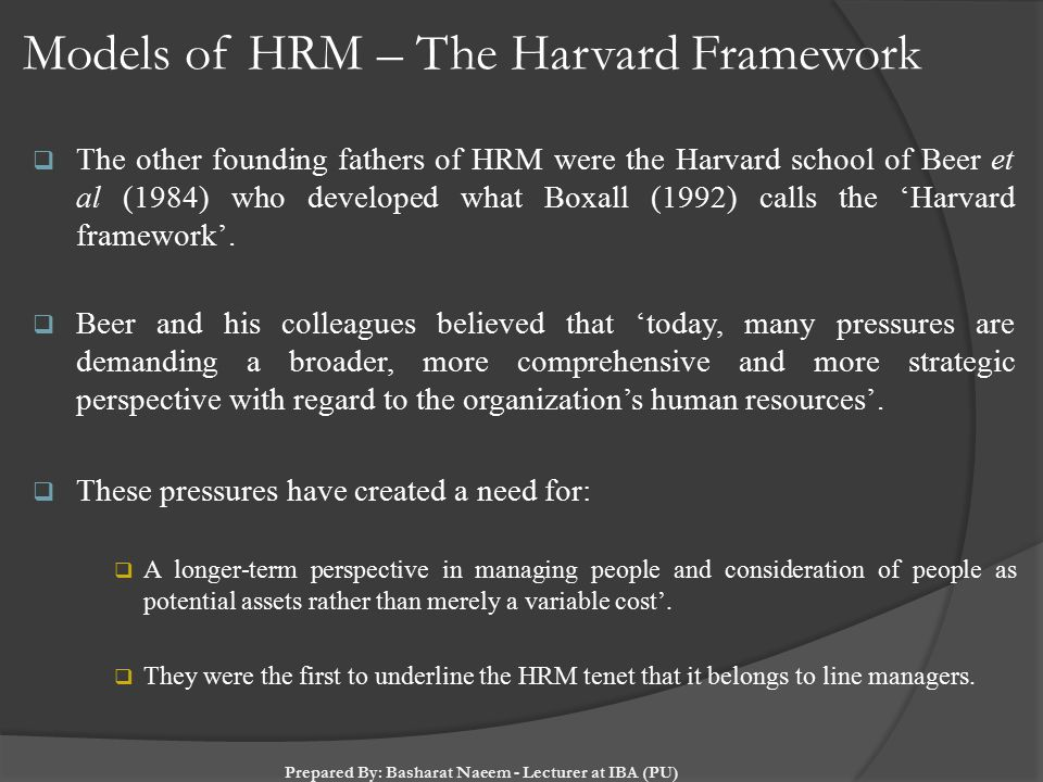 HR Management Assignment help on: Harvard HRM model