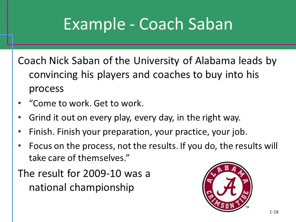 Example - Coach Saban Coach Nick Saban of the University of Alabama leads by convincing his players and coaches to buy into his process.
