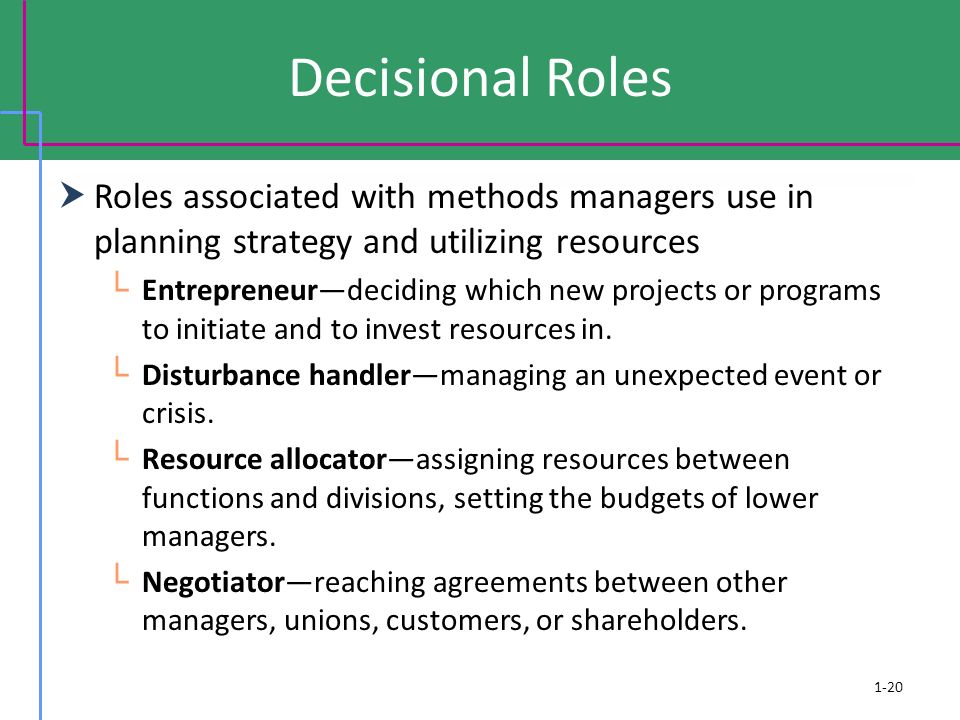 Decisional Roles Roles associated with methods managers use in planning strategy and utilizing resources.