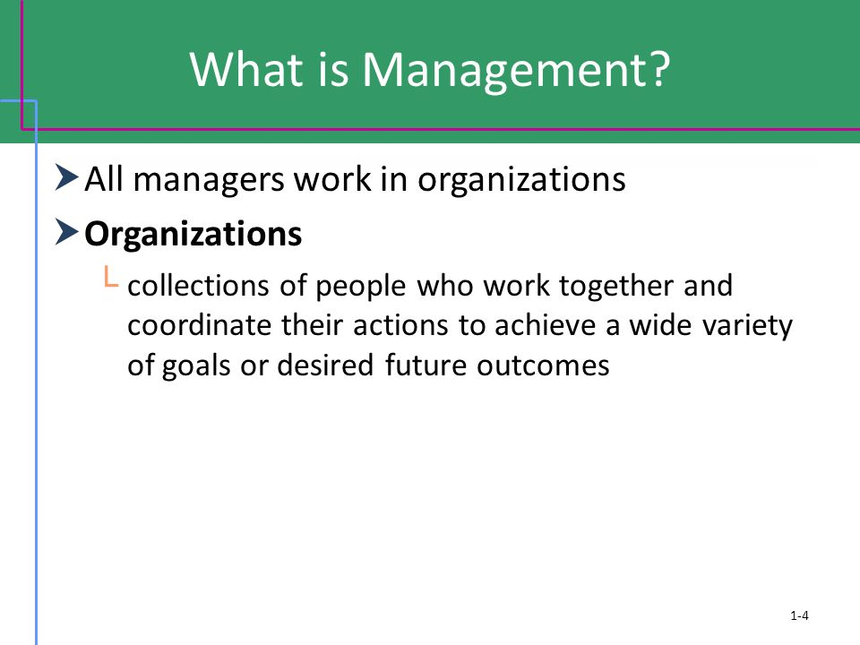 What is Management All managers work in organizations Organizations