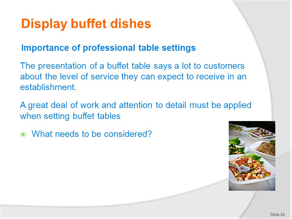 Display buffet dishes Importance of professional table settings  sc 1 st  SlidePlayer & PLAN PREPARE AND DISPLAY A BUFFET SERVICE - ppt video online download