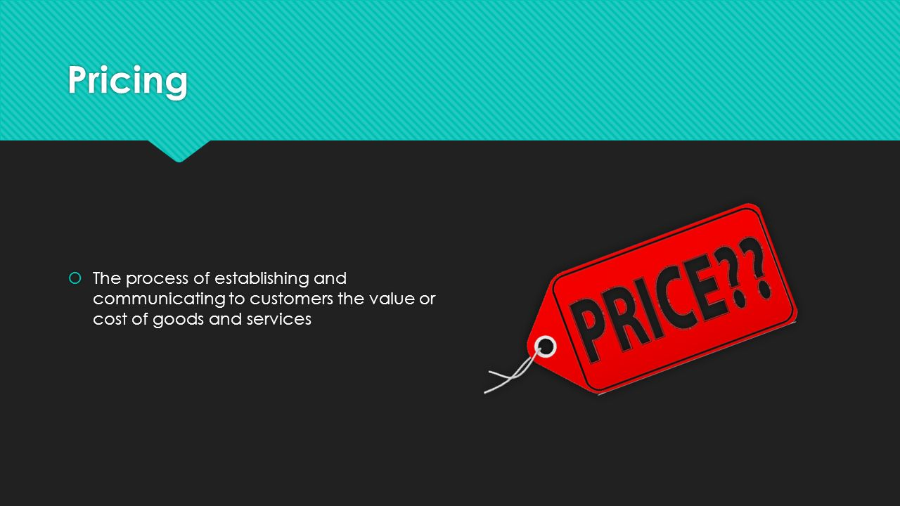 Pricing The process of establishing and communicating to customers the value or cost of goods and services.