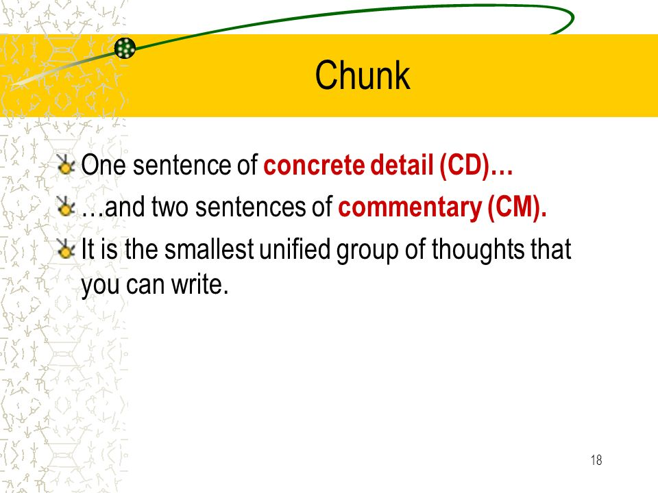 Chunk One sentence of concrete detail (CD)…