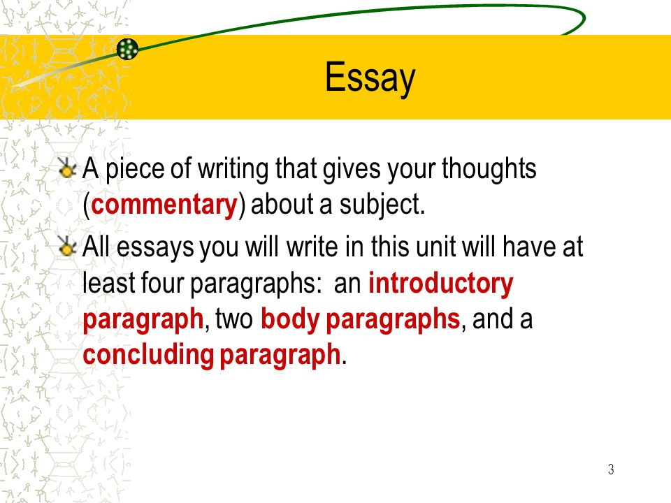Essay A piece of writing that gives your thoughts (commentary) about a subject.